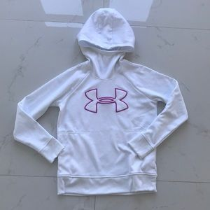 Under armour hood hoodie sweats white woman m
